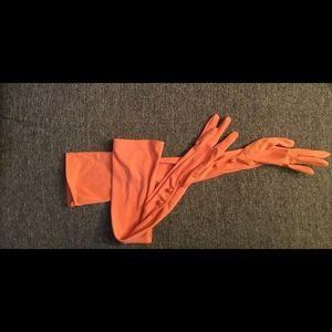 "Vintage 22"" Orange Two Button Opera Length Gloves"